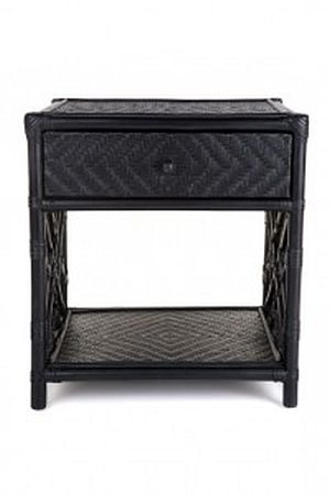 Chippendale 1 Drawer Bedside Table, Black or White