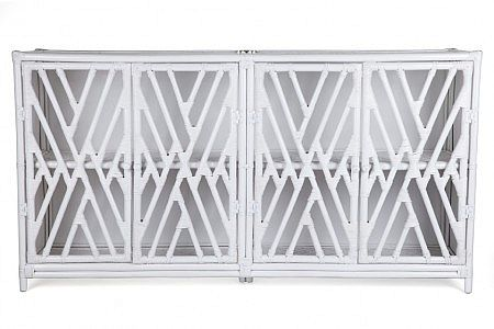 Chippendale 4 Door Cabinet, White or Black