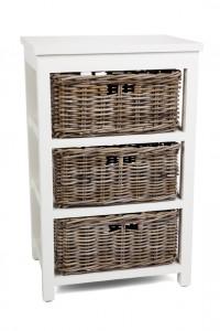 Kubu Grey Storage 3 Drawer Basket