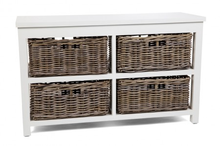 Kubu Grey Storage 4 Drawer Basket, Long