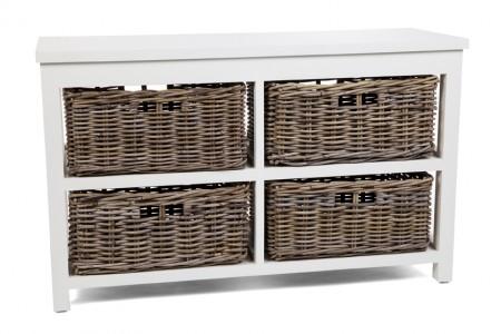 Kubu Grey Storage 4 Drawer Basket, Long