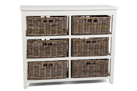 Kubu Grey Storage 6 Drawer Basket High