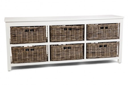 Kubu Grey Storage 6 Drawer Basket, Long