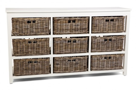 Kubu Grey Storage 9 Drawer Basket