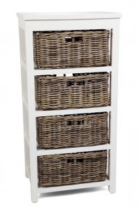 Kubu Grey Storage 4 Drawer Basket High