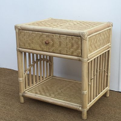 Naomi 1 Drawer Bedside Table, Natural Blonde, White or Dark Stain