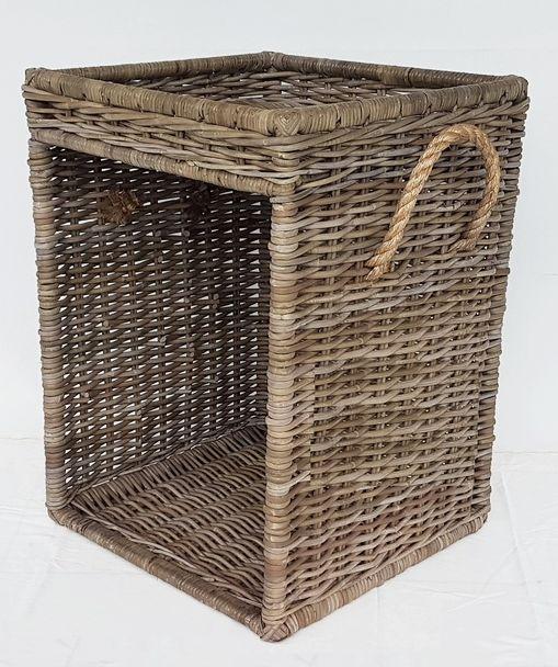 Wood Basket Side Table The Golden Rattan